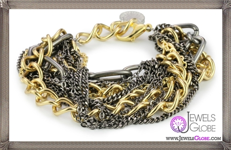 Gemma-Redux-Libby-Bracelet-with-Gold-Tone-Gunmetal-and-Raw-Steel-Chains Important Gemma Redux Jewelry Pieces to Look For