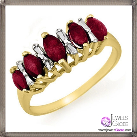 Genuine-0.88-ctw-Ruby-Ring-10K-Yellow-Gold 32+ Most Elegant Genuine Ruby Rings For Women