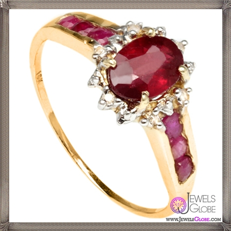 Genuine-African-Ruby-Ring-in-10k-Solid-Yellow-Gold 32+ Most Elegant Genuine Ruby Rings For Women