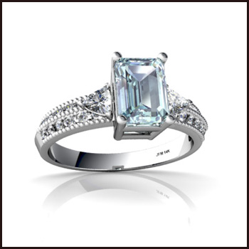 Genuine-Aquamarine-Ring-14k-White-Gold Top Ranked Aquamarine Cocktail Rings