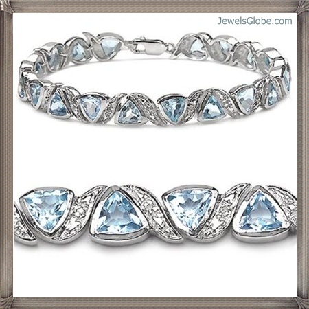 Genuine-Blue-Topaz-Diamond-Sterling-Silver-Bracelet Fancy Blue Diamond Bracelets (Hot Designs)