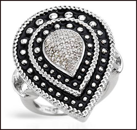 Genuine-Diamonds-Well-Made-in-Black-Enamel-and-925-Sterling-silver-ring-for-women Hottest Sterling Silver Rings For Women