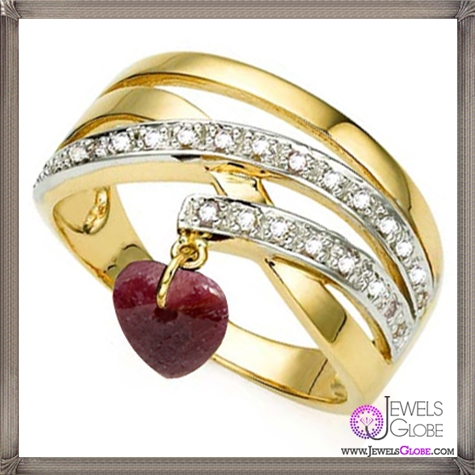 Genuine-Ruby-Dangle-Heart-Ring-with-Diamonds 32+ Most Elegant Genuine Ruby Rings For Women