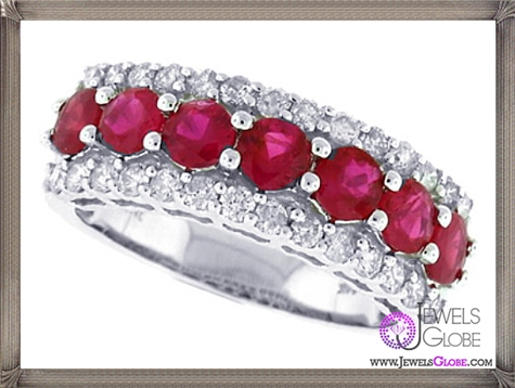 Genuine-Ruby-Diamond-Engagement-Band-Ring-in-14Kt-White-Gold 32+ Most Elegant Genuine Ruby Rings For Women
