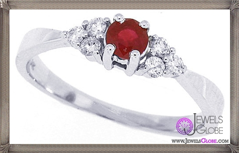 Genuine-Ruby-and-Diamond-Engagement-Ring-in-14Kt-White-Gold 32+ Most Elegant Genuine Ruby Rings For Women