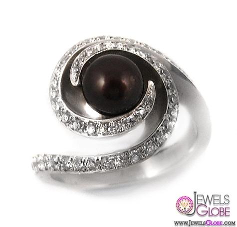 Gndevaz-Fancy-Silver-Swarovski-and-Black-Pearl-Ring Top Pearl Rings For Sale