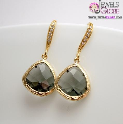Gold-Earrings-Black-Diamond-Earrings-Cubic-Zirconia Latest Fashion Black Diamond Earrings For Women