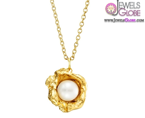 Gold-Sea-Cast-Flower-Cup-Pearl-Necklace Top 20 Pearl Gold Necklace Designs