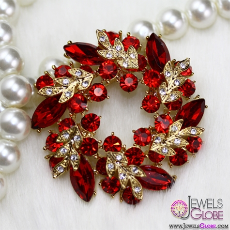 Gold-Tone-Wreath-Ruby-Gemstone-Paved-Brooch Top 10 Gemstone Brooches For Women