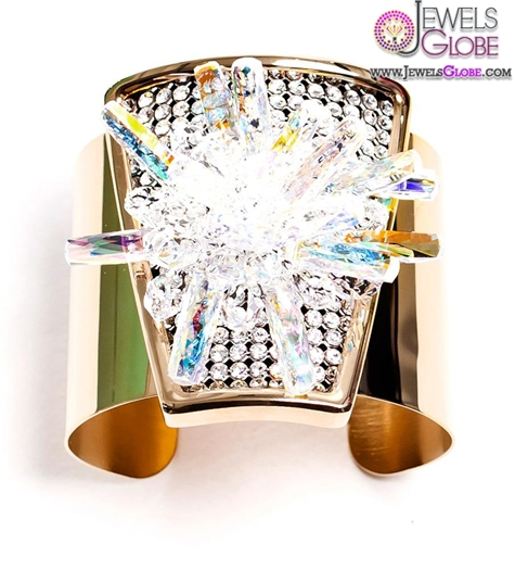 Gold-plated-cuff-bracelet-with-crystal-array-panel-and-iridescent-crystal 35 Hot Cuff Bracelets For Women