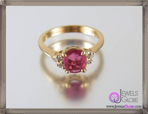 Gorgeous-14k-yellow-gold-genuine-ruby-diamond-ring 32+ Most Elegant Genuine Ruby Rings For Women