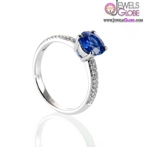 Gorgeous-Blue-Sapphire-Ring-with-two-row-pave-set-Diamond-shoulders Top 21 Blue Sapphire Engagement Rings Designs