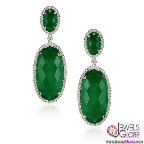 Green-Agate-Gemstone-Diamond-Drop-Earrings The 43 Hottest Gemstone Drop And Stud Earrings Designs for Women
