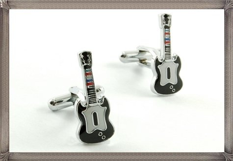 Guitar-One-Pair-Personalised-Cufflinks-For-Men personalised cufflinks for men