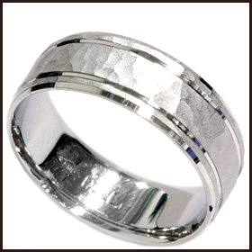 Hammered-Wedding-Band-Ring-Solid-Double-Inlay Men's Hammered Wedding Bands: Choose Best Designs