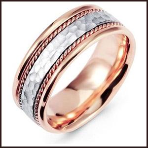 Hammered-White-Rose-Gold-Milgrain-Wedding-Band-Ring Men's Hammered Wedding Bands: Choose Best Designs