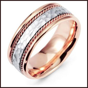 Hammered-White-Rose-Gold-Milgrain-Wedding-Band-Ring Men's Hammered Wedding Bands: Choose Best Designs