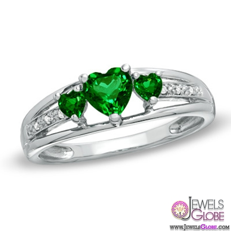 Heart-Shaped-Lab-Created-Emerald-Three-Stone-and-Diamond-Accent-Ring Top Designed 3 Stone Signature Emerald Cut Rings
