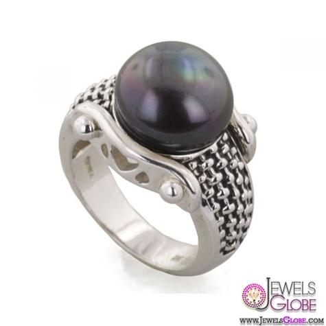 Honora-Ladies-Sterling-Silver-Black-Pearl-Ring Top Pearl Rings For Sale