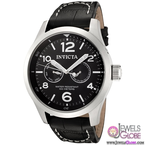 Invicta-Men-Watches-Collection-Black-Dial-Black-Leather-Watch Stylish Invicta Watches For Men