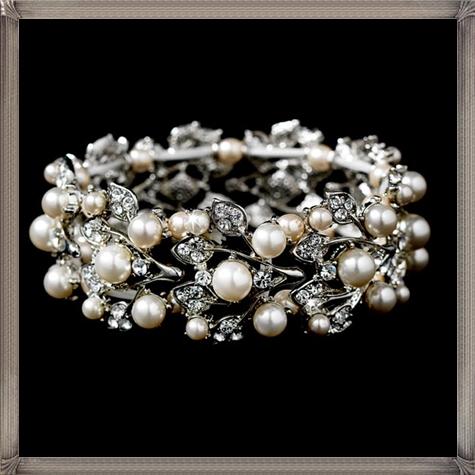 Ivory-Pearl-Rhinestone-Bracelet 28+ Most Amazing Pearl Bracelets For Brides
