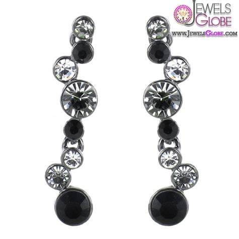 JOLIE-BIJOUX-Clear-or-Black-Diamond-Crystal-Drop-Earrings Latest Fashion Black Diamond Earrings For Women
