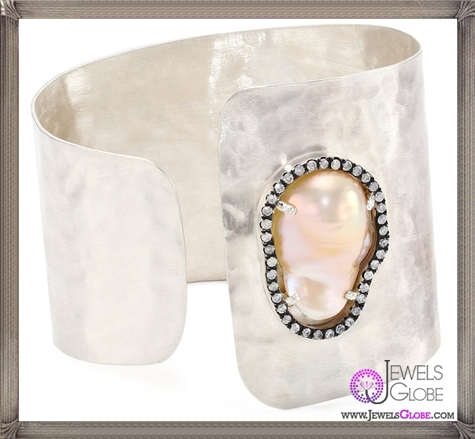 Jordan-Alexander-Slice-Silver-and-Champagne-Pearl-Slice-and-Diamond-C-Cuff-Bracelet Jordan Alexander Jewelry and Where To Buy Best Designs