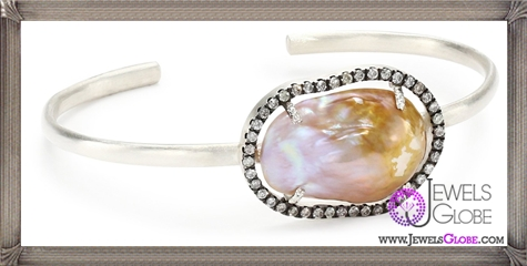 Jordan-Alexander-Slice-Silver-and-Exterior-Beige-Pearl-Slice-and-Diamond-Bangle-Bracelet Jordan Alexander Jewelry and Where To Buy Best Designs