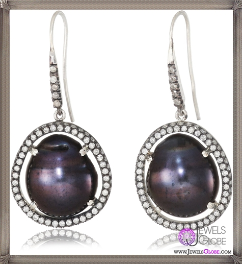 Jordan-Alexander-Slice-Silver-and-Exterior-Navy-Pearl-Slice-and-Two-Row-Diamond-Earrings Jordan Alexander Jewelry and Where To Buy Best Designs