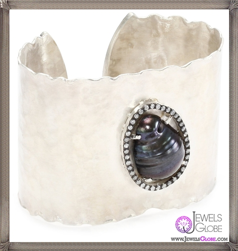 Jordan-Alexander-Slice-Silver-and-Exterior-Peacock-Pearl-Slice-and-Diamond-Cuff-Bracelet Jordan Alexander Jewelry and Where To Buy Best Designs
