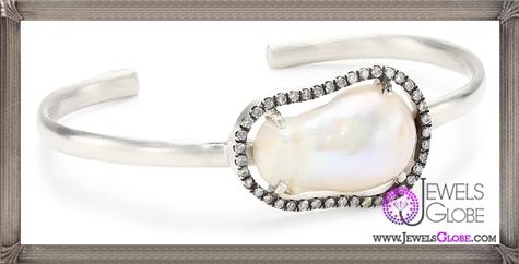 Jordan-Alexander-Slice-Silver-and-Exterior-White-Pearl-Slice-and-Diamond-Bangle-Bracelet Jordan Alexander Jewelry and Where To Buy Best Designs