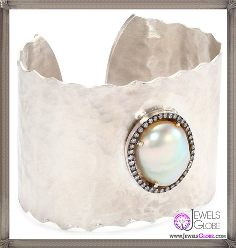 Jordan-Alexander-Slice-Silver-and-Exterior-White-Pearl-Slice-and-Diamond-Cuff-Bracelet Jordan Alexander Jewelry and Where To Buy Best Designs