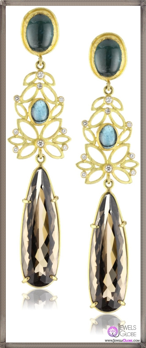 Julieli-Metaform-18k-Gold-Blue-Tourmaline-Smoky-Quartz-and-Diamond-Earrings Top 7 Tips Before Buying Julieli Jewelry