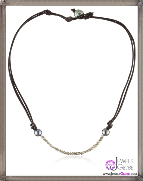 Kala-Champagne-Diamonds-and-Tahitian-Pearls-on-Leather-Necklace Best 15 Kala Jewelry Designs for This Year