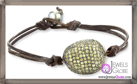 Kala-Golden-Sapphire-Pave-Bead-on-Leather-Bracelet Best 15 Kala Jewelry Designs for This Year