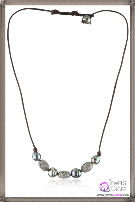 Kala-Oval-Pave-Diamonds-and-Tahitian-Pearls-on-Leather-Necklace Best 15 Kala Jewelry Designs for This Year
