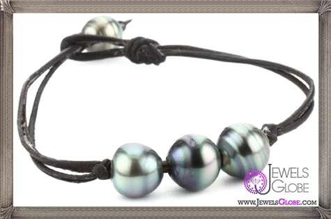 Kala-Three-Tahitian-Baroque-Pearls-on-Double-Leather-Breacelet Best 15 Kala Jewelry Designs for This Year
