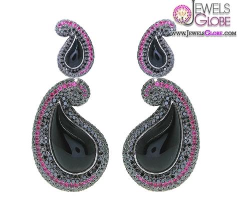 Kashmir-Black-Diamond-Earrings Latest Fashion Black Diamond Earrings For Women