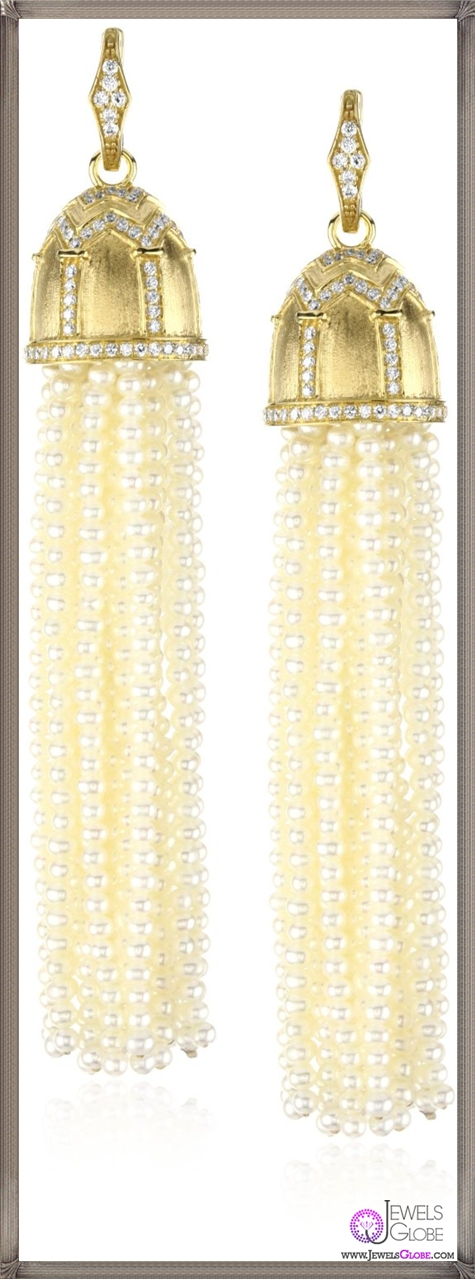 Katie-Decker-Gothic-18k-Diamond-and-Seed-Pearl-Tassel-Earrings Best 32 Katie Decker Jewelry Designs for This Year
