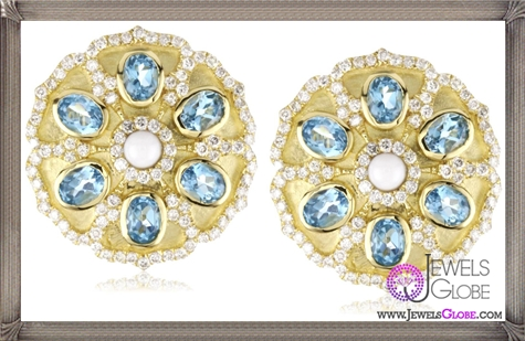 Katie-Decker-Imperial-18k-Blue-Topaz-and-Diamond-Blossom-Earrings Best 32 Katie Decker Jewelry Designs for This Year