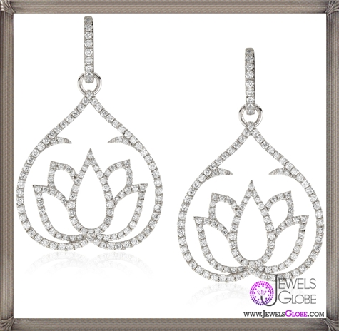 Katie-Decker-Lotus-18k-White-Gold-and-Diamond-Earrings Best 32 Katie Decker Jewelry Designs for This Year