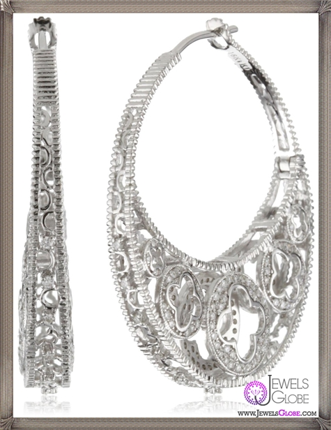 Katie-Decker-Quatrefoil-18k-White-Gold-and-Diamond-Profile-Earrings Best 32 Katie Decker Jewelry Designs for This Year