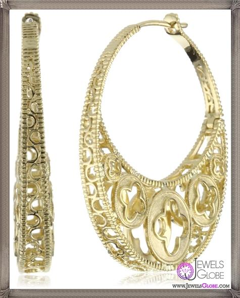 Katie-Decker-Quatrefoil-18k-Yellow-Gold-Profile-Hoop-Earrings Best 32 Katie Decker Jewelry Designs for This Year