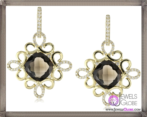 Katie-Decker-Scroll-18k-Smoky-Quartz-and-Diamond-Earrings Best 32 Katie Decker Jewelry Designs for This Year
