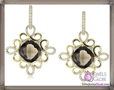Katie-Decker-Scroll-18k-Smoky-Quartz-and-Diamond-Earrings Best 32 Katie Decker Jewelry Designs for This Year