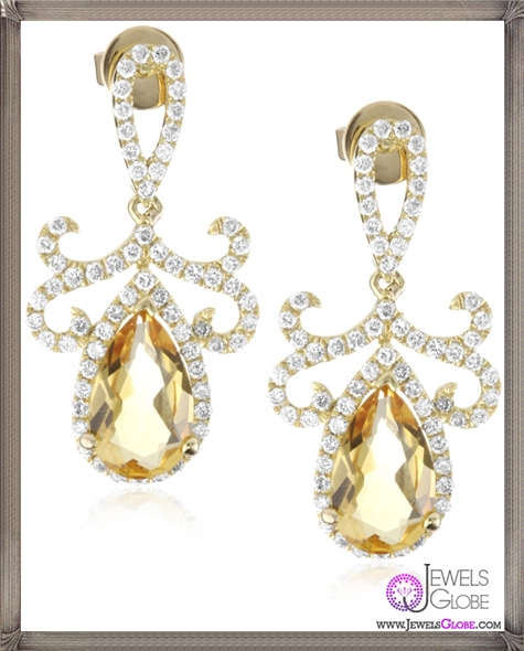 Katie-Decker-Tudor-18k-Citrine-and-Diamond-Earrings Best 32 Katie Decker Jewelry Designs for This Year