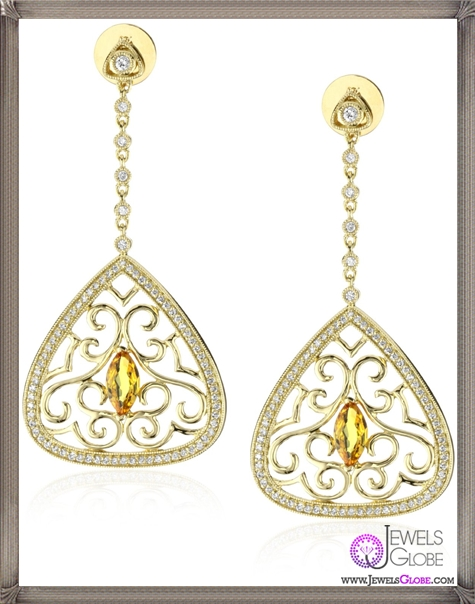 Katie-Decker-Tudor-18k-Yellow-Sapphire-and-Diamond-Anne-Earrings Best 32 Katie Decker Jewelry Designs for This Year