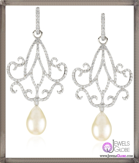 Katie-Decker-Tulip-18k-White-Gold-and-Diamond-with-Fresh-Water-Pearl-Drop-Earrings Best 32 Katie Decker Jewelry Designs for This Year