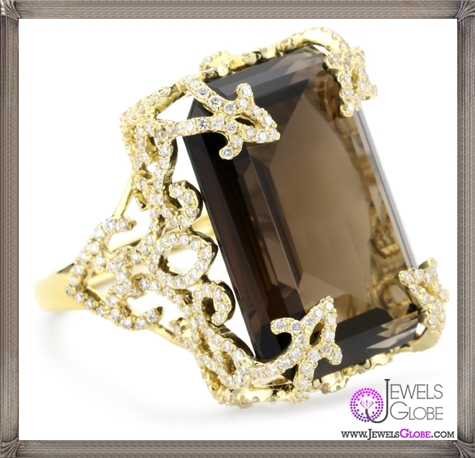 Katie-Decker-Versailles-18k-Smoky-Quartz-and-Diamond-Ring Best 32 Katie Decker Jewelry Designs for This Year