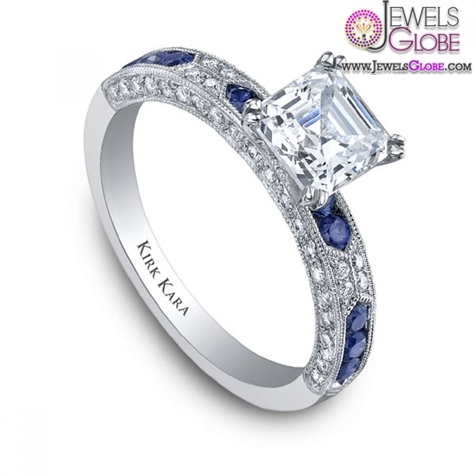 Kirk-Kara-Amelia-Engagement-Ring-in-18kt-White-Gold-With-Blue-Sapphires Top 21 Blue Sapphire Engagement Rings Designs